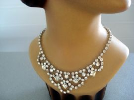 1950's Diamante Necklace - Bib Style with Large Square Diamante Detail (SOLD)